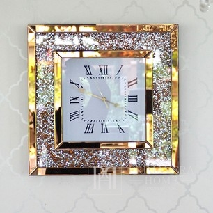 Diamant-Wanduhr mit transparentem Spiegel, verziert mit einem quadratischen goldenen PAOLA GOLD