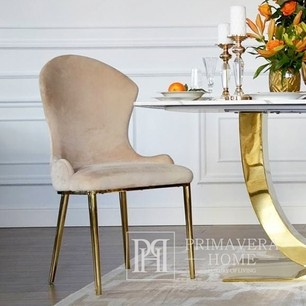 LOUIS modern beige gold New York-style upholstered glamour chair 49x55x110