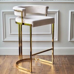 MARCO modern golden beige glamour upholstered barstool for dining room, bar, aisle 54.5×52.5x97cm