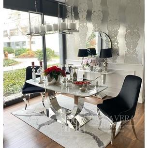 Polsterstuhl CAMILLIA modern, Glamour Stahlbeine, silber 48x53,5x99 schwarz