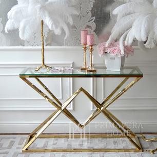 Moderne Konsole im Glamour-Stil, Edelstahl, Glas, Gold, CONRAD