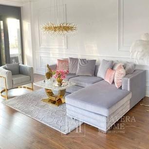 Corner glamour sofa with bedroom function grey, black NERO