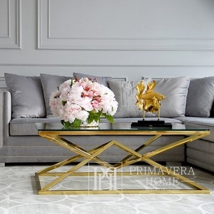 Coffee table glamor with a glass top, steel gold CONRAD OUTLET