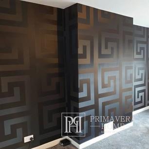 Versace GREEK Glamour Tapete geometrisches griechisches Muster schwarz gold satin