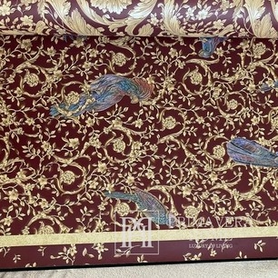 Versace Tapete geometrisch 10,05 x 0,70m Vögel, grüngold [CLONE]