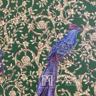 Versace Barocco Birds Glamourtapete mit Vogelornament, grüngold