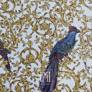 Versace Barocco Birds Glamourtapete mit Vogelornament, goldweiß