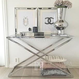Glamour Konsole CRISS CROSS XL Edelstahl, Silberglas