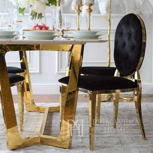 Krzesło glamour MEDALION stalowe, złote, czarne OUTLET