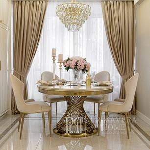 Stół glamour okrągły ANTONIO GOLD  biały marmur, stalowy,  złoty OUTLET