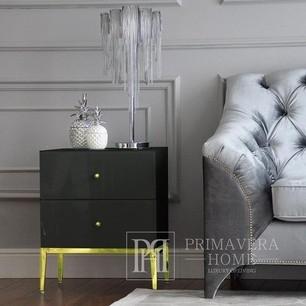 Nachttisch aus Glas Franco für das Schlafzimmer Glamour schwarz, gold OUTLET