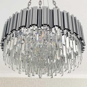 Żyrandol kryształowy glamour nowowczesny na łańcuchach do salonu okrągły 60 cm EMPIRE SILVER