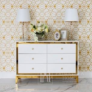 Glamour-Kommode lackiert hölzern mit Stahlbeinen Lorenzo M Gold