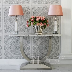 Modern glamor style console with a white marble top, silver ART DECO