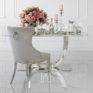 Gepolsterter Steppstuhl auf geraden Stahlbeinen, silbergrau, für das Wohnzimmer GRETA