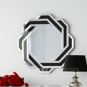 Runder Spiegel DUNE in schwarzem und silbernem Rahmen 85x85 OUTLET