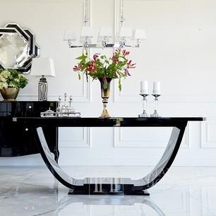 Hochglanz schwarz weiß matt Ausziehtisch im Art Deco Stil DAISY