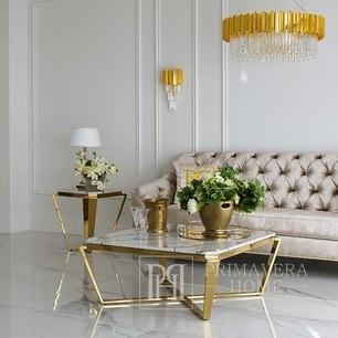 Stolik kawowy do salonu złoty z białym konglomeratem glamour elegancki RALPH