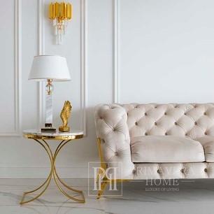 Stolik pomocniczy boczny w stylu glamour, stolik nocny biały marmur ALICE GOLD