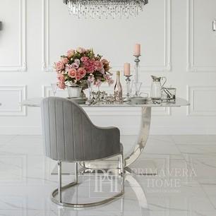 OPERA Silberner Glamour-Sessel für das Wohn- und Esszimmer grau
