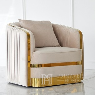 Modern armchair glamour MADONNA for living room, dining room golden beige 90x85x79