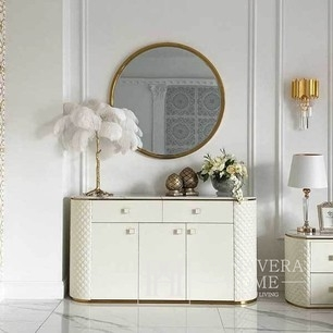 Glamor chest of drawers HERMITAGE  made of steel, golden marble and white