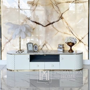 Glamor rtv chest of drawers HERMITAGE  with marble top, white, gold