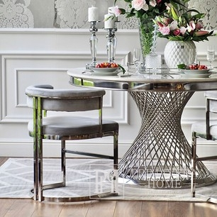 MARCO modern grey silver upholstered glamour chair for living and dining room