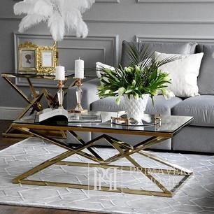 Coffee table glamour modern New York steel gold glass CONRAD