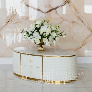 Coffee table HERMITAGE  with eco-leather, white gold