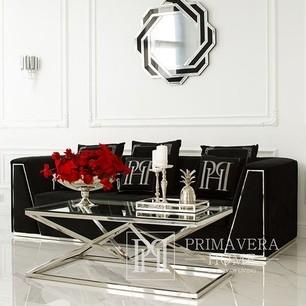 Coffee table glamour modern New York steel glass silver CONRAD