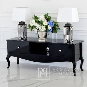 Stylish cabinet, TV table, glossy chest of drawers, bent legs black ELENA GLAMOR