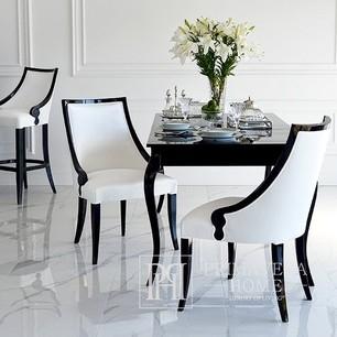 Stylish dining table white gloss, bent legs ELENA GLAMOR