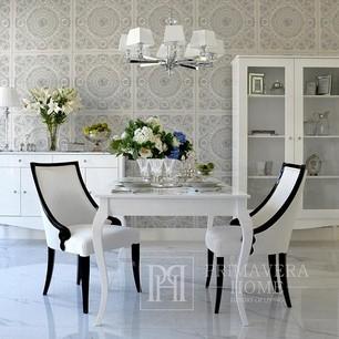 Stylish ELENA GLAMOR dining table, bent white legs
