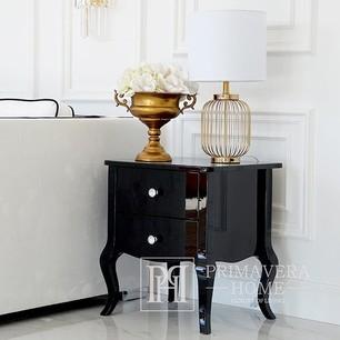 Glamor black high gloss bedside table bent legs ELENA GLAMOUR