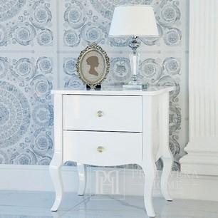 Stylish bedside table ELENA GLAMOR bent legs white