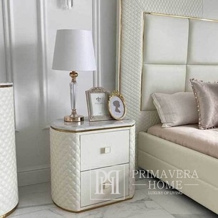 Stylish bedside table HERMITAGE with eco-leather white gold