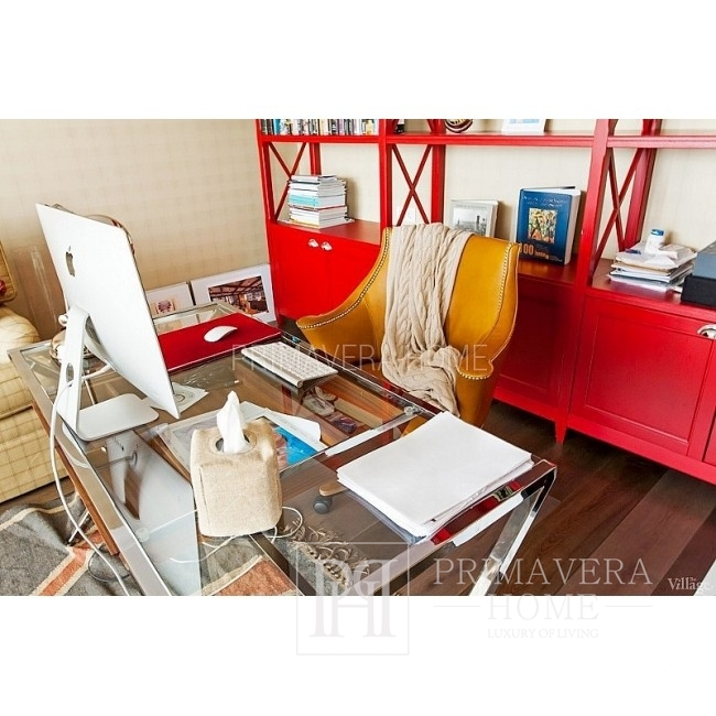 Biurko stół MODERN szklany stal nierdzewna srebrny