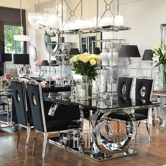 Glamour gepolstert Stahl modern Esszimmerstuhl schwarz VITO