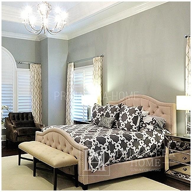 Queen Łóżko tapicerowane glamour szare, białe, różne wymiary