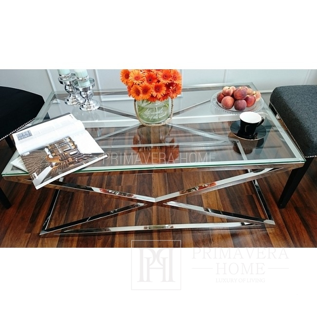 Coffee table stainless steel glass CRISS CROSS M