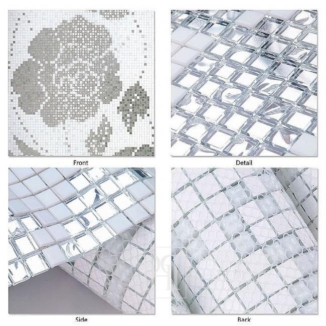 Glasmosaik Winterblumen Oro Bianco weiß und Silber