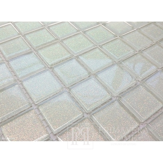 Mozaika Szklana z brokatem BIAŁA Pauline