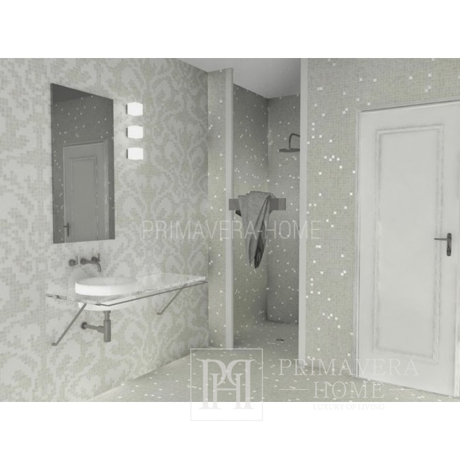 Glass mosaic Damasco Oro Bianco white and silver Silver