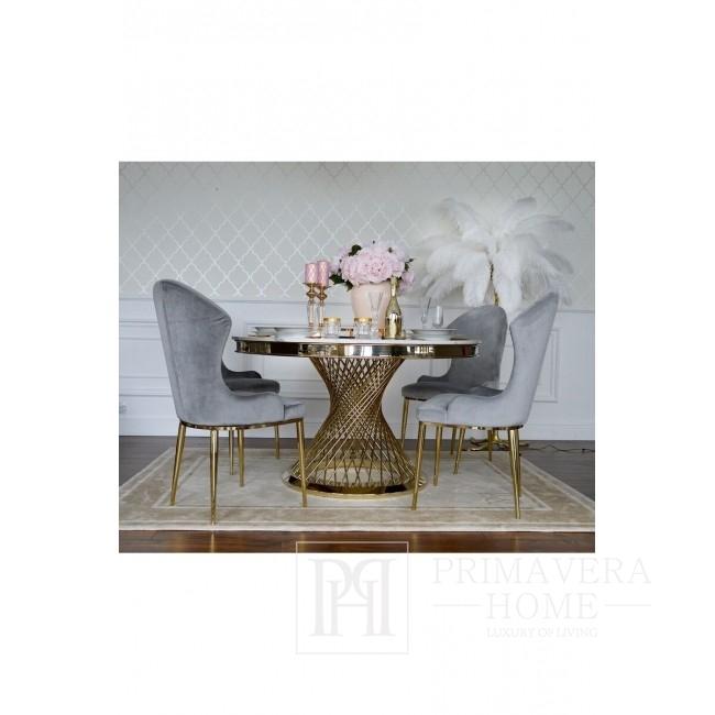 Świecznik kryształowy na postumencie S FLAVIO złoty
