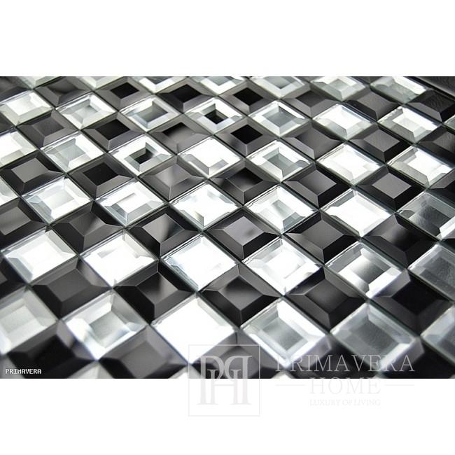 Diamant-Glasmosaik Schwarz und Weiß Hermine Schachbrett