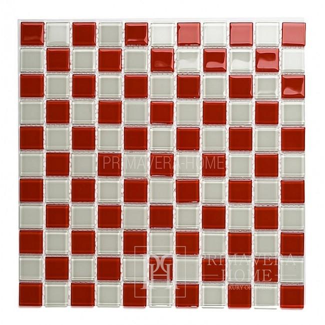 Mozaika Szklana czerwona biała Antonina