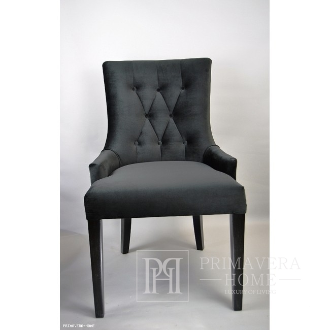 Quilted chair TIFFANTS glamour, golden knocker Black 97x46x54