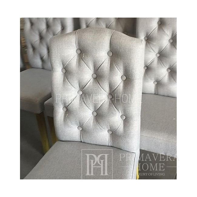 Krzesło SALLY tapicerowane pikowane chesterfild styl francuski, prowansalski shabby chic 100x46x44