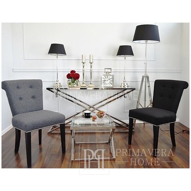 Ława stolik kawowy boczny w stylu galmour pomocniczy stal nierdzewna szklany srebrny CRISS CROSS S